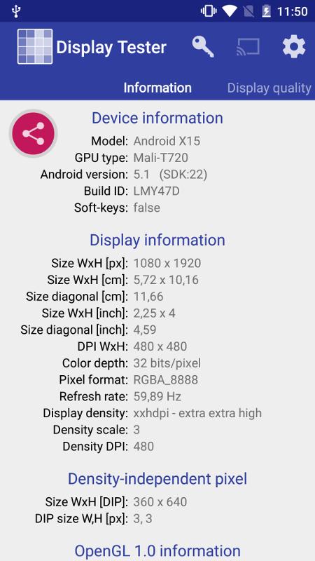 Cubot X15 Displaytester
