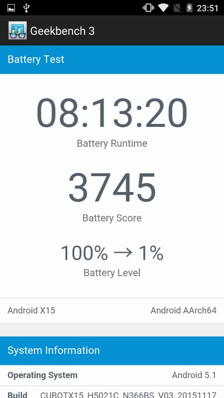 Cubot X15 Battery Test