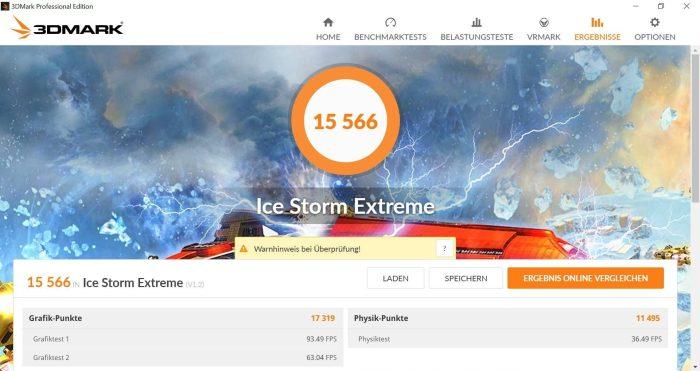 3DMark Benchmarktest Ice Storm Extreme mit 15566 Punkten