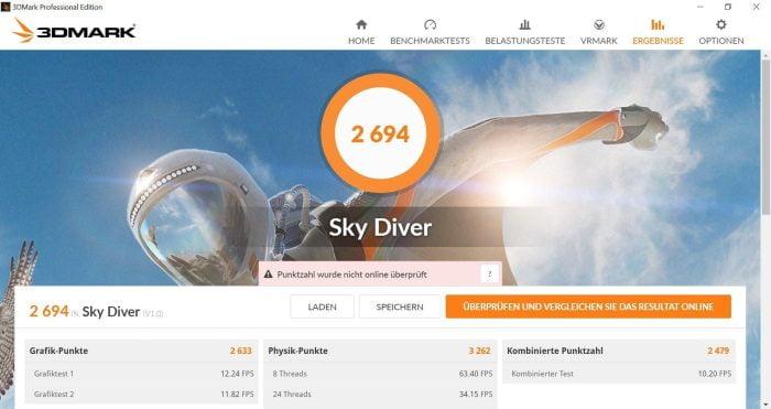 3DMark Benchmarktest Sky Diver mit 2694 Punkten