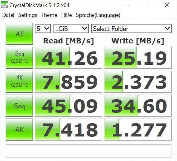 CrystalDiskMark SD Test