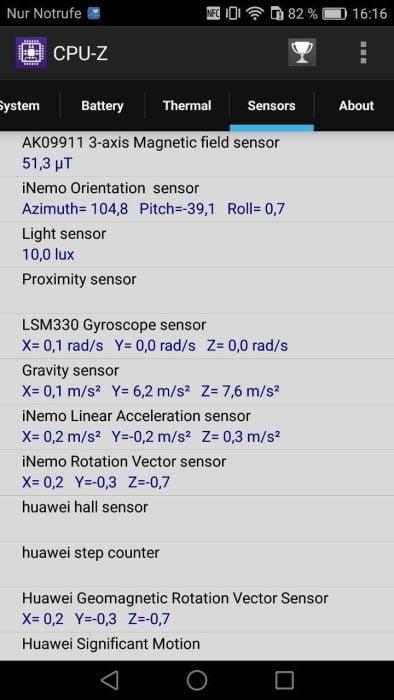 Honor 6X Sensoren