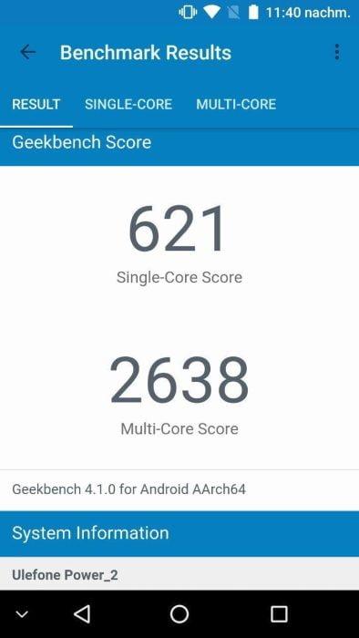 Ulefone Power 2 Geekbench 3