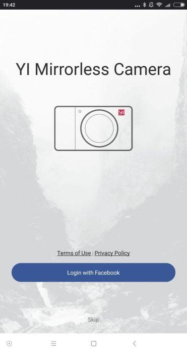 Yi Mirrorless App Startbildschirm