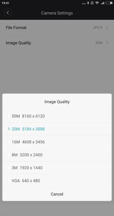 Yi Mirrorless App Einstellungen (2)