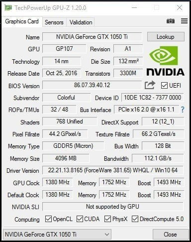 GPU-Z Grafikkartenwerte