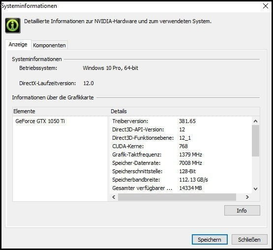Nvidia Systeminformationen