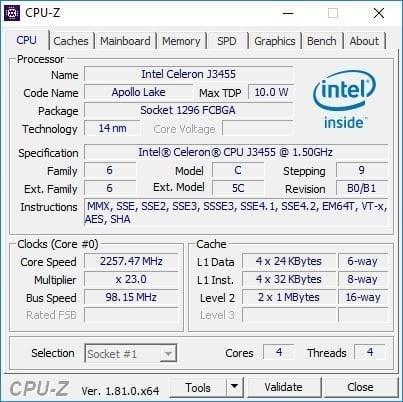 Vorke V1 Plus CPU-Z