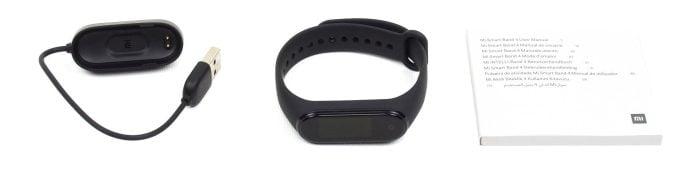 Mi Band 4 Lieferumfang mit Ladegerät, Armband und Bedienungsanleitung