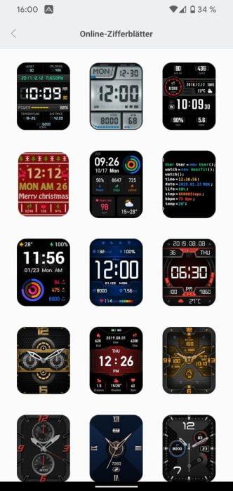 Cadres de montre de l'application Amazfit