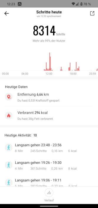 Activités de l'application Amazfit