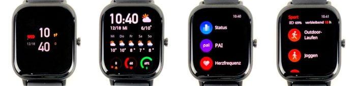 L'interface utilisateur de l'Amazfit GTS avec des cadrans de montre et une utilisation simple