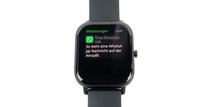 Notification WhatsApp sur l'Amazfit GTS