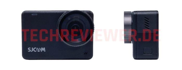 SJCAM SJ10 Pro Action Cam önü lensli ve tarafı USB-C bağlantılı