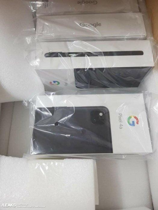 De verkoopverpakking van de Pixel 4a.