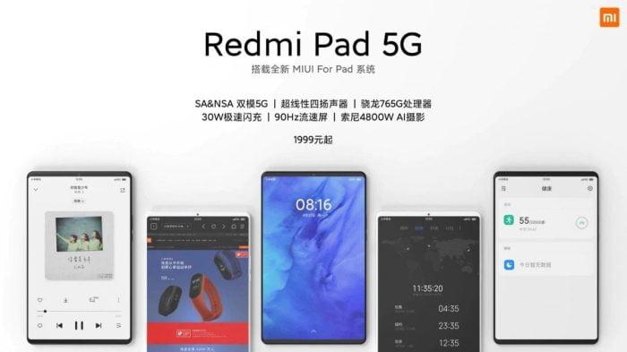 Tablette Redmi Pad 5G avec écran 90 Hz.