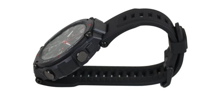 The smartwatch from the side.