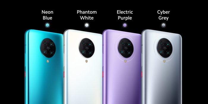 Le POCO F2 Pro est disponible en quatre couleurs différentes.