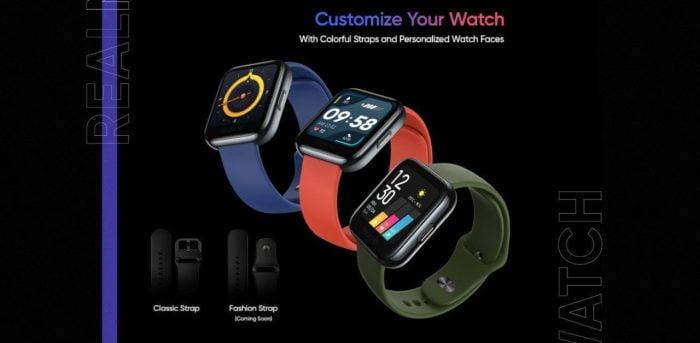 Montre Realme en trois couleurs différentes et avec bracelet classique et bracelet fashion.