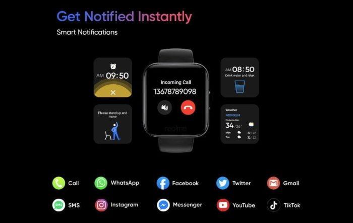 La Realme Watch reçoit des notifications de diverses applications.