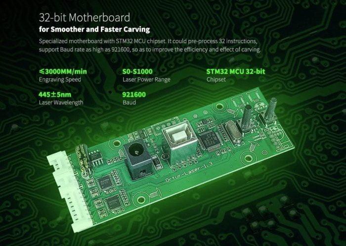 ORTUR Laser Master 2 s 32bitovým čipem STM32 MCU.