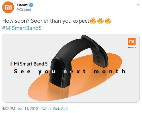 Sortie mondiale de Xiaomi Mi Band 5 en juillet.