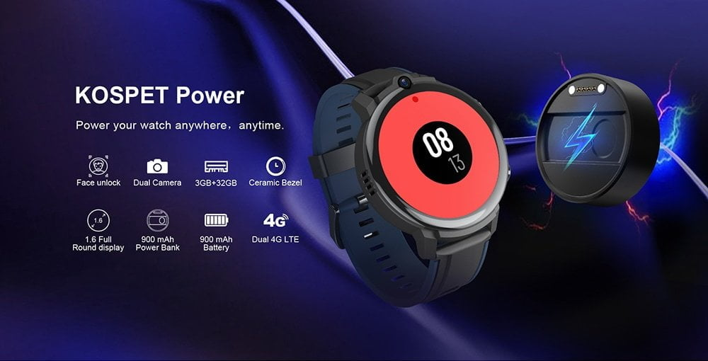 Données techniques de la Kospet Power Smartwatch.