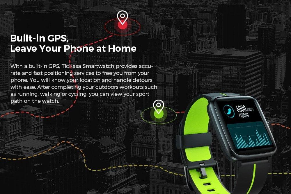 La Smartwatch Mobvoi TicKasa suit avec précision via GPS.