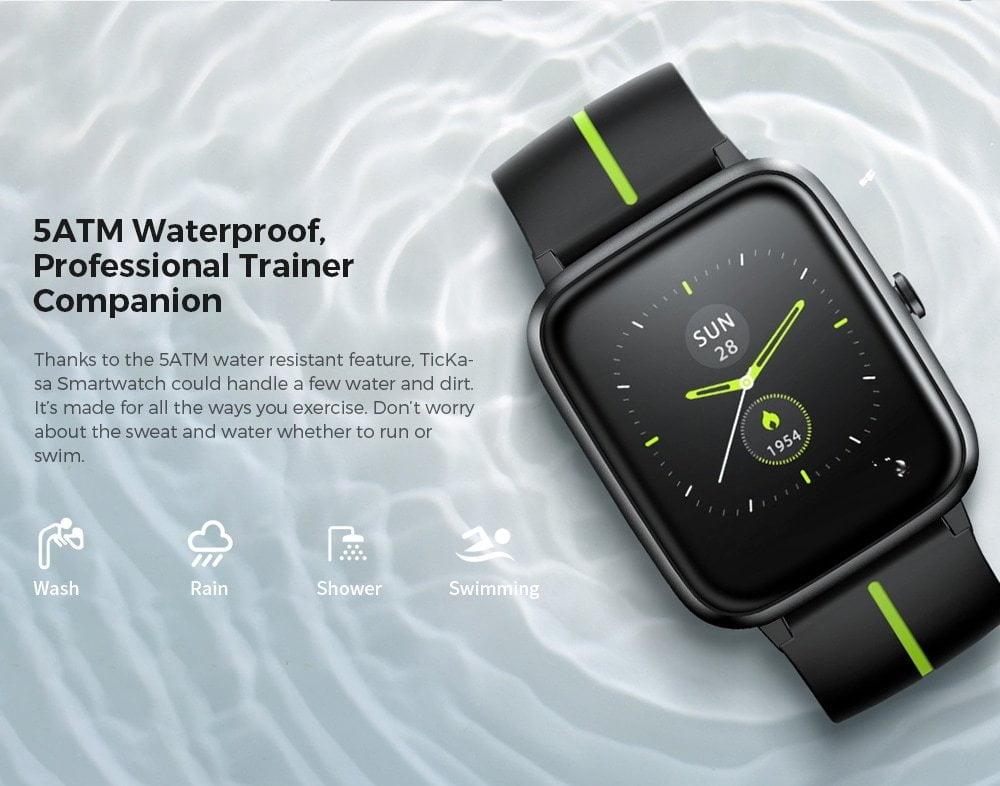La montre intelligente Mobvoi TicKasa est étanche jusqu'à 5 ATM.