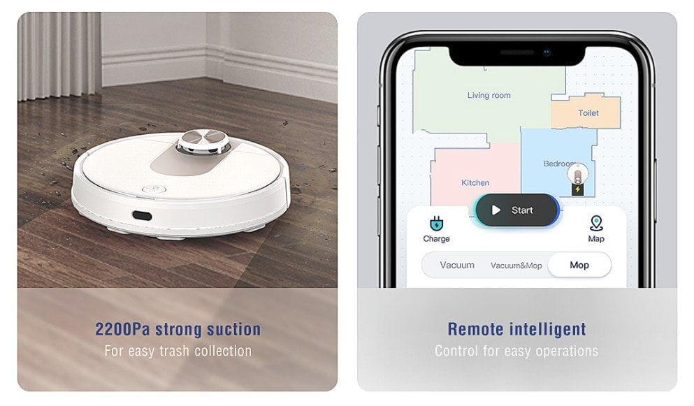 VIOMI SE-vacuümrobot 2200 Pa en Mi Home-app