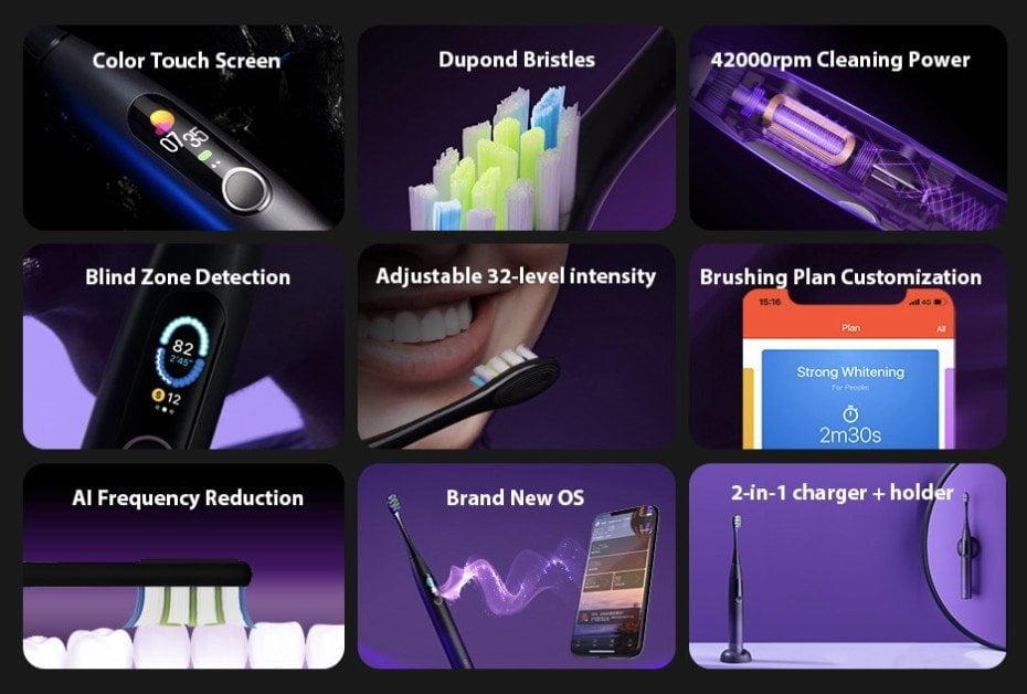 Recursos da escova de dentes Oclean X Pro