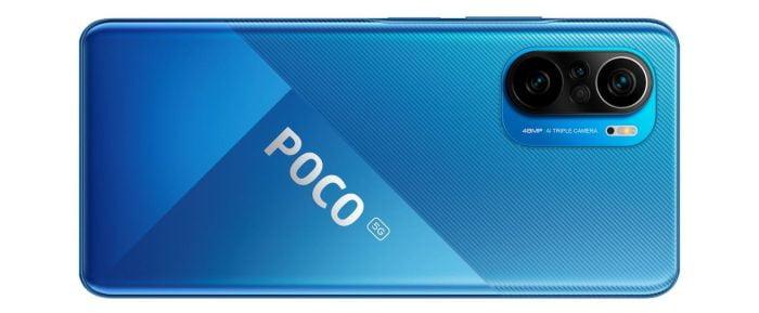Dos du smartphone POCO F3 en bleu