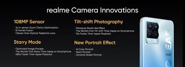 especificações da câmera realme 8 Pro