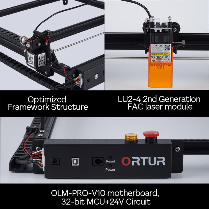 Mecanismos de segurança ORTUR Laser Master 2 PRO