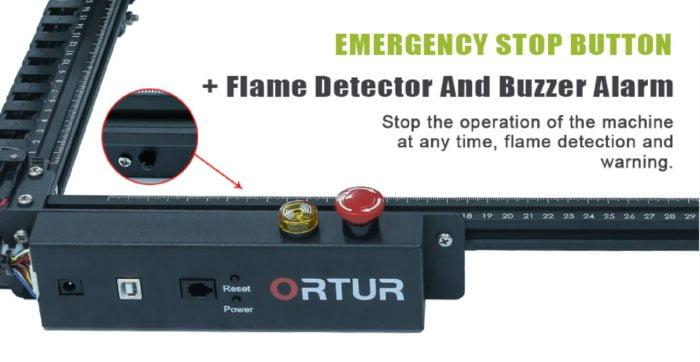 ORTUR Laser Master 2 PRO parada de emergência