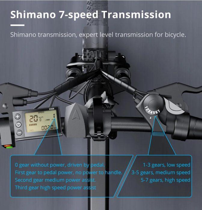 ADO A20 Shimano caixa de 7 velocidades