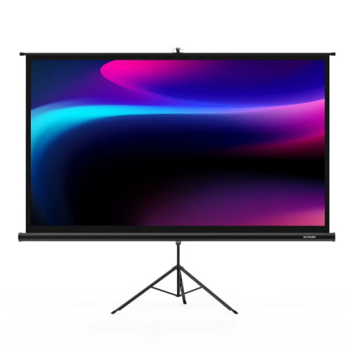 BlitzWolf BW-VS1 Bracket Projector Screen Beamer Curtain 100-Inch 1080P Full HD with Stand 16: 9 3D Display White Plastic Projector Curtain with Large Screen Steady Tripod 160 ° Viewing Angle for Movies Home Theater Outdoor Indoor