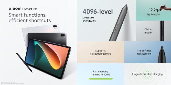 Επισκόπηση των λειτουργιών του έξυπνου στυλό Xiaomi Pad 5.